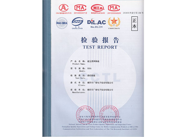 UTP Cat5e  cable test report