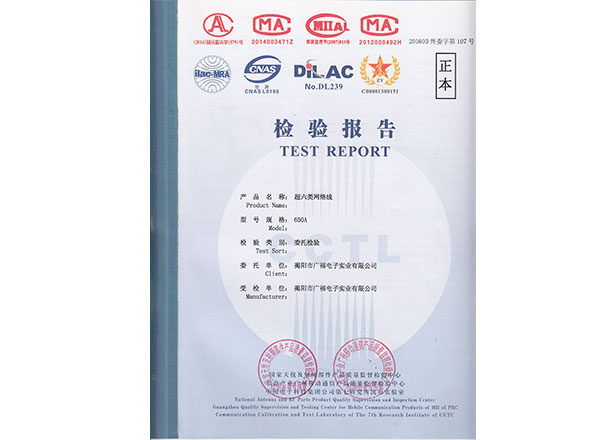 UTP Cat6  cable test report